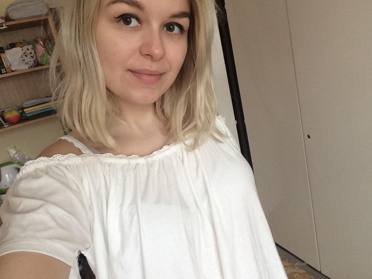 White shoulder-off blouse